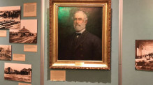 This portrait of Robert E. Lee used to hang in Alexandria City Hall but is now part of a Civil War exhibit in the Lyceum, the city's local history museum. (Patricia Sullivan/The Washington Post)
