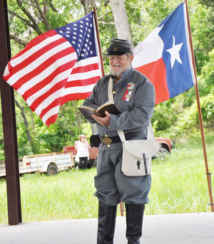 Chaplain Jim Day of the Sons of Confederate Veterans Major Howdy Martin Camp 1241 in Athens   honors the military service of the men from Texas who fought in the Civil War during a ceremony honoring veterans buried at the Old Bethel Cemetery in Phalba on Saturday. The event was hosted by descendants of Elijah Hanks Woolverton.