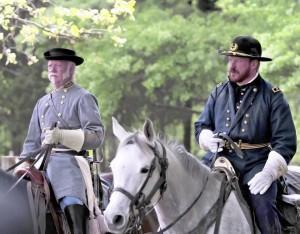 Craig Braswell, as Gen. Joseph E. Johnston and John Guss, as Gen. William T. Sherman at Bennett Place in Durham. CREDIT WWW.NCDCR.GOV