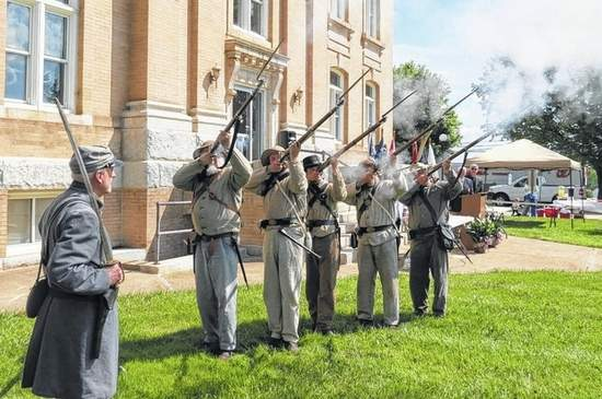 Tom Joyce | The News Yadkin Gray County Eagles re-enactment troops fire a volley Saturday in remembrance of the 150th anniversary of the end of the Civil War and those who took part.