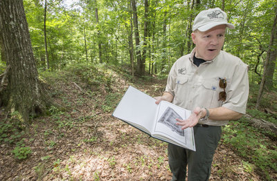 Michael Shaffer, a Civil War Historian and member of the River Line Historic Area, talks about the Johnston River Line site in Mableton, which was recently listed on the National Register of Historic Places.  Staff-Kelly J. Huff