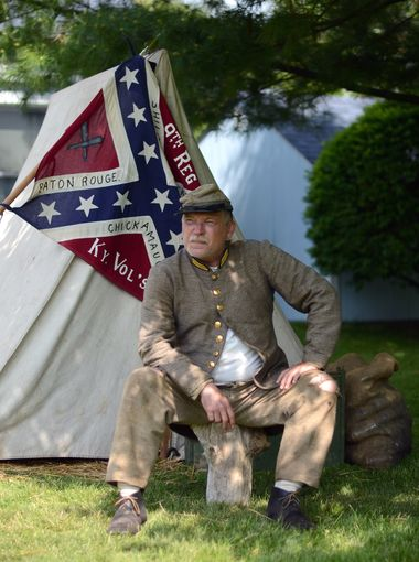 John McIntosh, of Royal Oak, said he participants for the camaraderie and to remember his ancestors. What he enjoyed most was answering questions from the public, Sunday, June 7, during the Lexington Civil War Festival. (Photo: ANDREW JOWETT, TIMES HERALD)