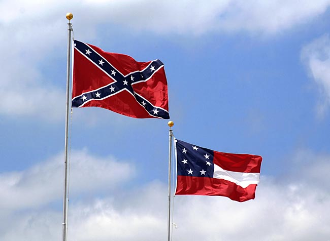 "Confederate Navy Jack / Battle Flag (left) and the First National Flag / ""Stars and Bars"" (right)"
