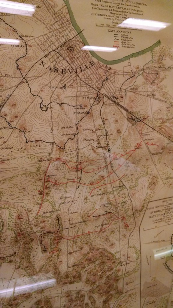 A map at the Fort Negley visitors center shows the fortifications around Nashville during the Civil War. CREDIT CHAS SISK / WPLN